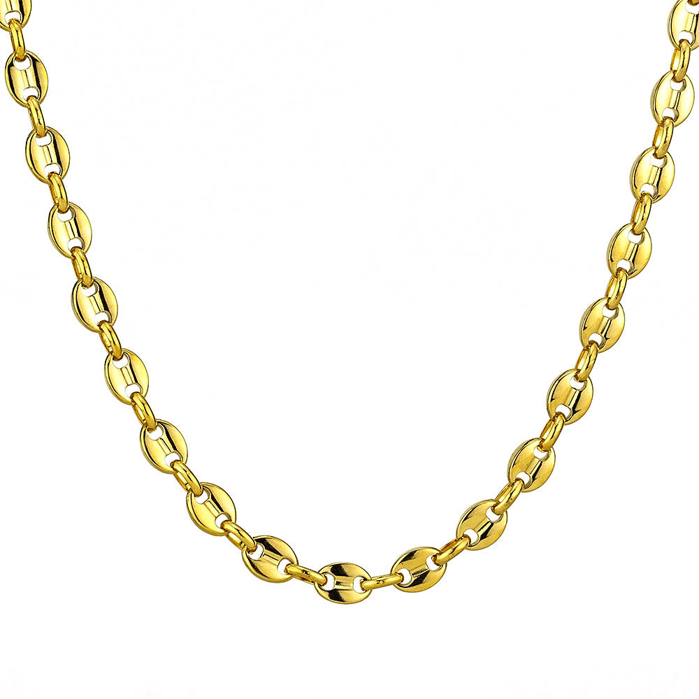 Goldsmith stainless steel puffed Gucci link chain 8mm – Gold